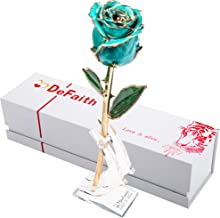 DeFaith Real Rose 24K Gold Dipped, Forever Gifts for Her Valentines Day Anniversary Wedding and Proposal, Attractive Luster and Natural Shape - Teal Blue with Moon Stand