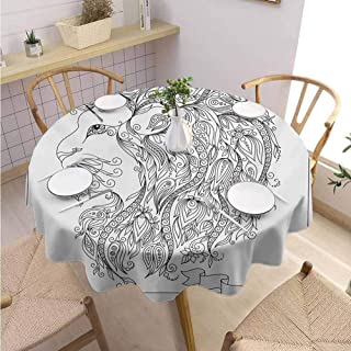 DILITECK Zodiac Microfiber Round Tablecloth Visage of Zodiac Sign Leo with Flowers on Hair The King of Forest Horoscope Theme Daily use Diameter 36