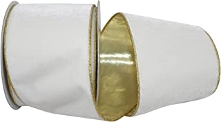 Reliant Ribbon 93187W-992-10F Plush Metallic Backed Velvet Wired Edge Ribbon, 4 Inch X 10 Yards, Ivory/Gold