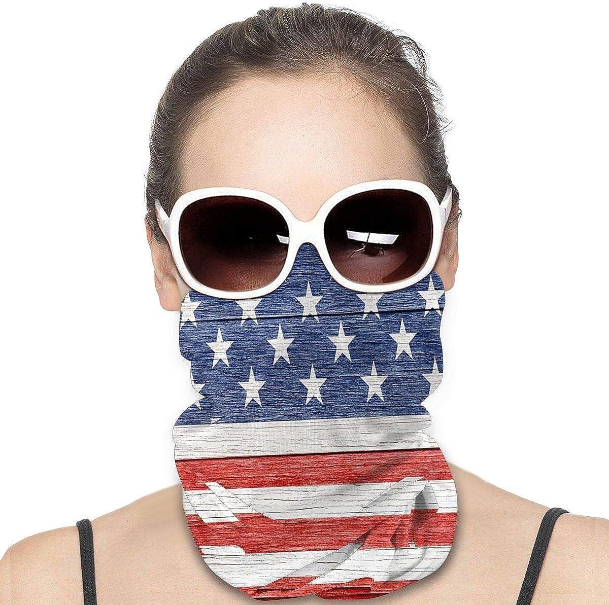 KiuLoam Women Bandanas Face Mask, Stars and Stripes on Wood Neck Gaiter Mask Headband for Men Face Scarf Dust, Outdoors, Sports