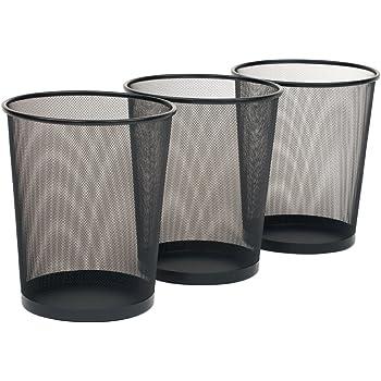 "Seville Classics 3-Pack Round Mesh Wastebasket Recycling Bin, 6 Gal, 12"" Diameter Top x 14"" H, Black"