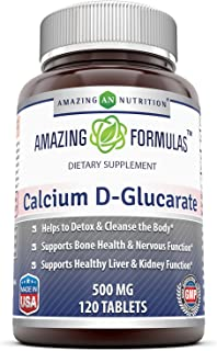 Amazing Formulas Calcium D-Glucarate (500 Mg, 120 Tablets) (Non-GMO) Supports Body's Detoxification Function by Helping The Liver & Kidney to Process and Flush Out Toxins. Supports Healthy Bones