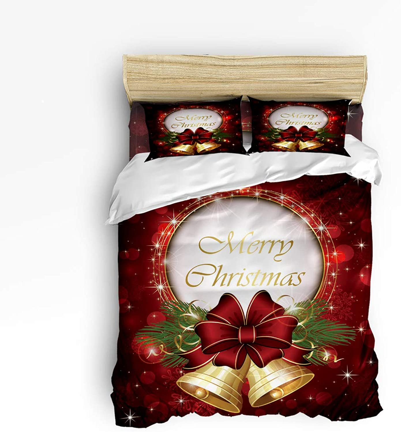 Fandim Fly Bedding Set Full Size Merry Christmas,Jingling Bell,Comforter Cover Sets for All Season
