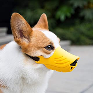 LUCKYPAW Dog Muzzle for Small Dogs Corgi Poodle to Prevent Barking, Biting, and Chewing, Soft Duck Silicone Mouth Cover wi...