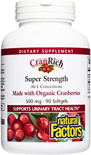 CranRich by Natural Factors, Super Strength Cranberry Concentrate, Antioxidant Supplement for Urinary Tract Support, Non-G...