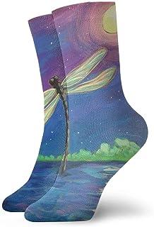 Dragonfly Moon Hombres Mujeres Calcetines cortos 30cm Algodón Calcetines clásicos para Yoga Senderismo Ciclismo Correr Fútbol Deportes