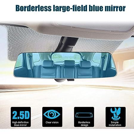 Younicer 2 5d Weitwinkelrückspiegel Universal Auto Lkw Innenrückspiegel Blendschutz Installieren Sie Den Auto Rückspiegel Blendschutz Blauer Spiegel Auto