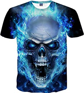 Lenfesh 3D Cráneo Graphic Estampado Camisa de Manga Corta para Hombres Baratas Divertidas chulas Camiseta de Impresión Cam...