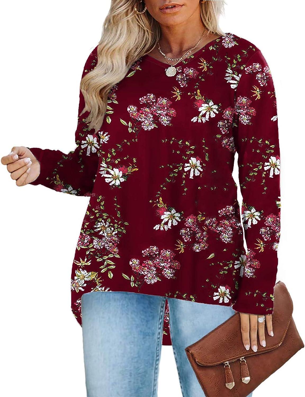 DOLNINE Womens Plus-Size Tops Long Sleeve V Neck Casual Shirts XL-4XL