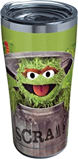 Tervis Sesame Street - Oscar Scram Stainless Steel Insulated Tumbler with Clear and Black Hammer Lid, 20oz, Silver