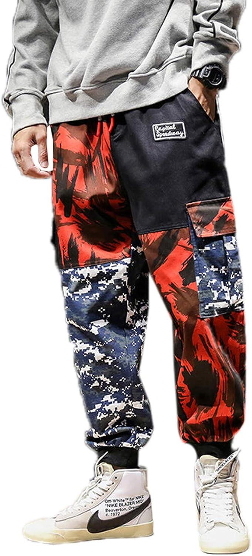 Elonglin Men's Retro Casual Cargo Trousers Cotton Casual Drawstring Harem Pants