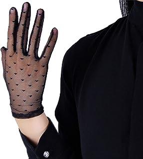 DooWay Black Sexy Short Lace Gloves Polka Tulle Semi Sheer Wrist Wedding Gloves for Women Girls Touchscreen