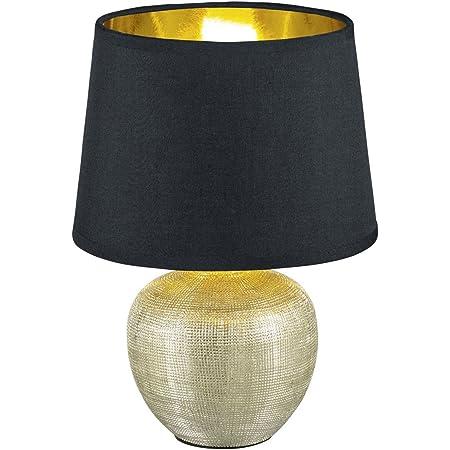 Reality, Lampe de table, Luxor 1xE14, max.40,0 W Tissu, Multicouleur, Corps: Céramique, or Ø:18,0cm, H:26,0cm IP20,Interrupteur de cordon