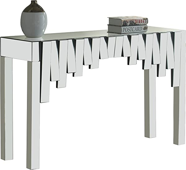 Meridian Furniture 414 T Modern Contemporary Mirrored Console Table 48 W X 15 5 D X 31 H
