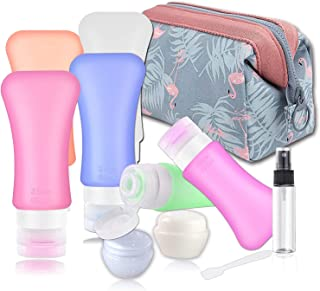 Travel Bottles Containers TSA Approved,Silicone Refillabel Containers for toiletries Travel Size Toiletries, Leakproof Travel Accessories Shampoo And Conditioner Sets with Cream Jars and Sprayers