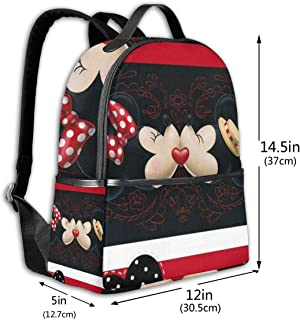 Classic School Backpack Lovely Minnie and Mickey Unisex College Schoolbag Travel Bookbag Black