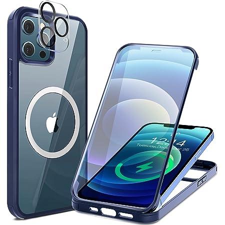 HAUTRKBG iPhone 12 Pro 用 ケース クリア 両面強化ガラス 360°全面保護 [MagSafe対応] [カメラフイルムを贈] [100%画面感度] マグセーフ ワイヤレス充電対応 米軍MIL規格取得 耐衝撃 アイフォン 12 Pro 透明 マグセーフ ケース・スマホケース iPhone 12 Pro 人気 6.1インチ(ブルー)