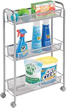 mDesign Portable Rolling Laundry Utility Cart Organizer Trolley with Easy-Glide Wheels and 3 Multipurpose Heavy-Duty Metal...