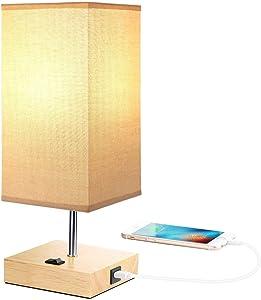 Tischlampe holz Nachttischlampe USB Anschluss Stoff Leselampe Moderne Tischlampen LED im Schlafzimmer Wohnzimmer, E27 220V 60W Max, mit Praktischer Schalter