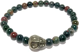 Bloodstone Bracelet Pyrite Skull Designer Green Gold Crystal Healing Stone Stretch Unisex B08