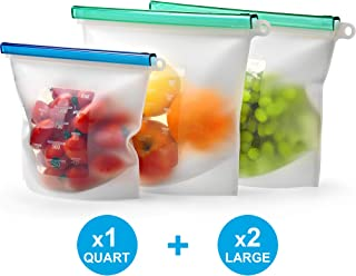 Reusable Silicone Bags Set for Food Storage by KIVA.WORLD - LARGE SIZE 50 OZ & QUART- Freezer Bags Airtight Seal - Hermetic Reusable Produce Bag - Cooking Sous Vide Bags Clear - Fresh Lunch & Snack