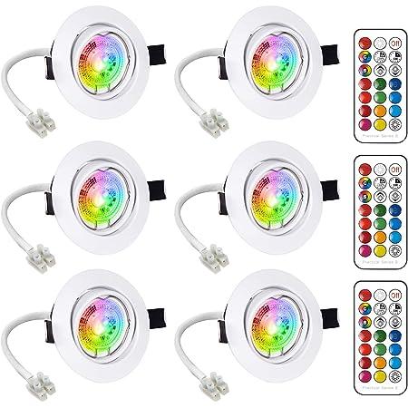 LED Spots Encastrables Orientable GU10 Ampoule RGB Couleur Changement Lampe Blanc Chaud 2700K de plafond du Jour Plafonnier Encastré 6W AC 85V-265V Spot Bulb Rond métal avec Télécommande(6er Set)