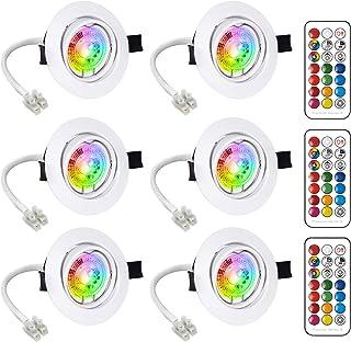 LED Spots Encastrables Orientable GU10 Ampoule RGB Couleur Changement Lampe Blanc Chaud 2700K de plafond du Jour Plafonnie...