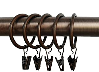 """Lansian 40pcs Rustproof Drapery Matte Stainless Steel Metal Curtain Rings with Clips 1.5 inch Drapery Rings, Copper (1.5"""" Interior Diameter)"""