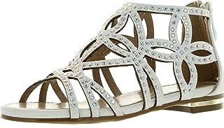 J.J.F Shoes Girls Kids Cut Out Rhinestone Gladiator Strappy Dress Sandals