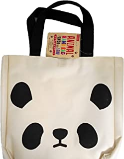 Daiso-Cute Panda Tote Bag, 9.84 in. × 9.84 in. × 1.96 in. Length, 15.35 in. Including Handle, Canvas Polyester, Beige・ Black.