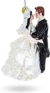 BestPysanky Bride & Groom Wedding Kiss Glass Christmas Ornament 4 Inches