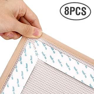 Lewondr Rug Grippers, 8 PCS Mat Carpet Pad Anti-Slip Corner Grips Sticker Heavy Duty&Reusable Rug Grippers Tape for Hardwood Floors Kitchen Bathroom, Large Size - White