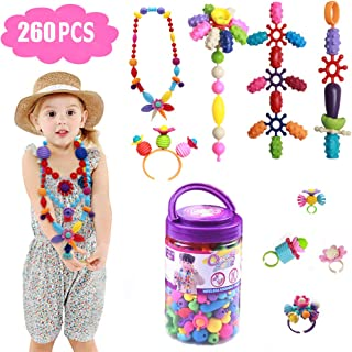 Tigerhu 280 Pcs Pop Snap Beads Set Toy, Jewelry Making Kit for Rings Bracelets Necklaces, Educational DIY Beads for Girls Toddlers Kids