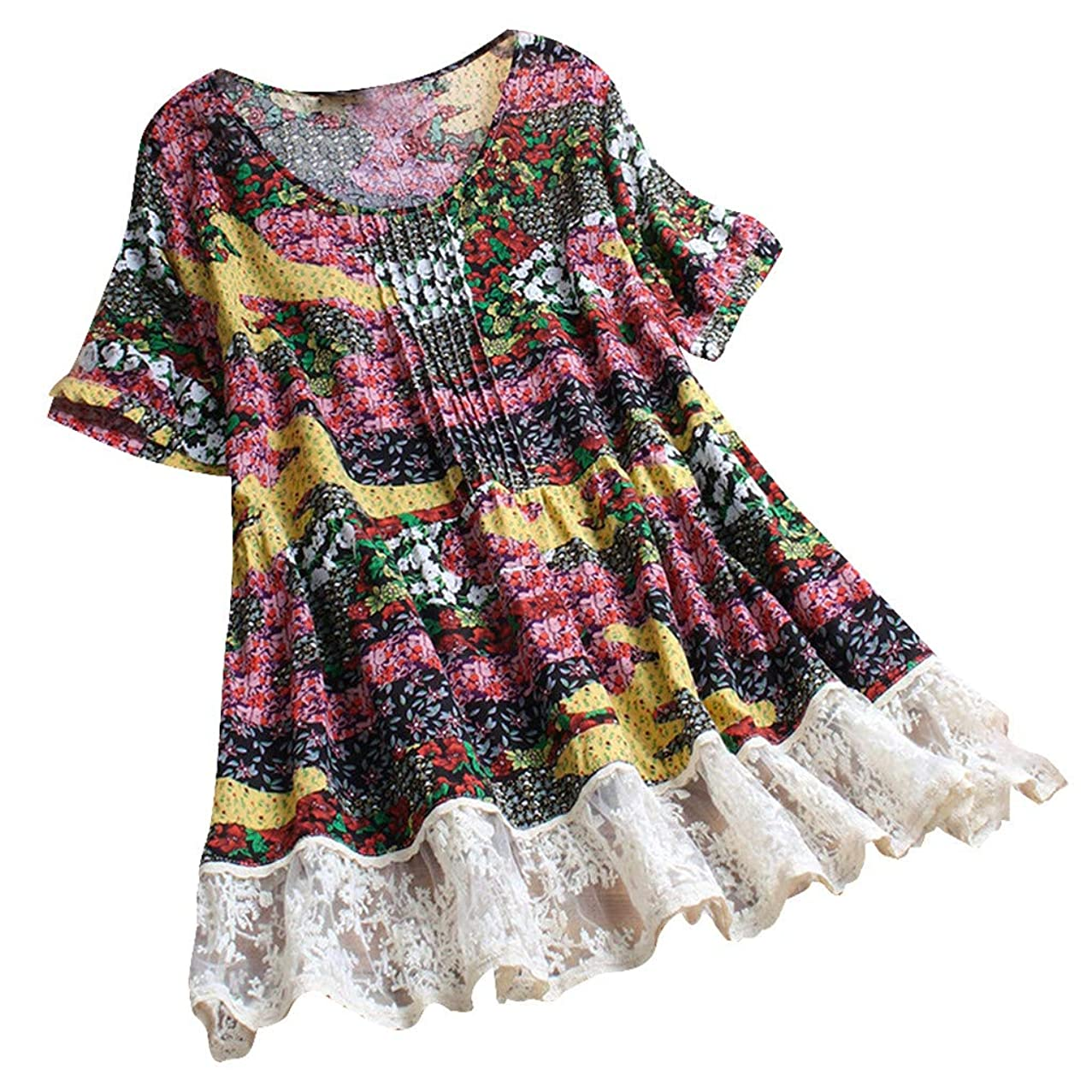 GHrcvdhw Women Pleated Lace Bohemia Floral prin Patchwork O-Neck Short Sleeve Linen Vintage Top T-Shirt Blouse