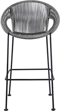 """ARMEN LIVING LCACBAGR30 Acapulco 30"""" Indoor Outdoor Steel Bar Stool with Grey Rope, Height, Gray"""