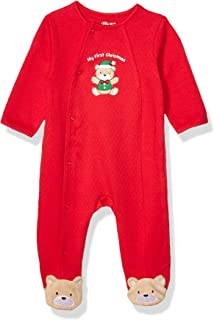 Little Me Baby-Boys LCQ08874N Holiday Cotton Footie - red