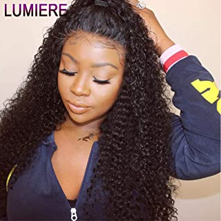 LUMIERE Hair Glueless 100% Brazilian Virgin Hair Kinky Curly 360 Lace Frontal Wigs for Black Women 16 inch 360 Curly Human Hair Lace Front Wigs with Baby Hair 150% Density Natural Color