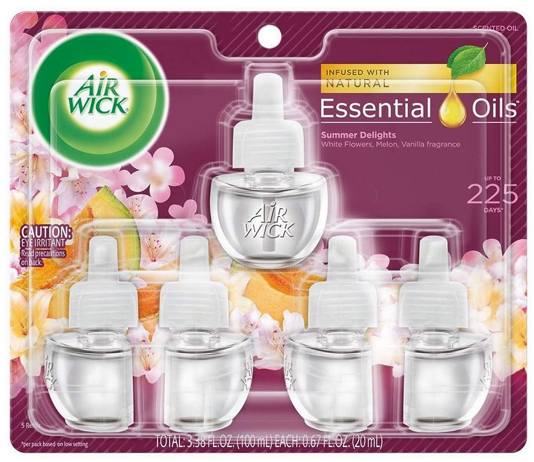 アラブ人血色の良い直接エアーウィック オイル プラグイン 詰替ボトル フレグランス 芳香剤 サマーデライト 20ml 5個セット Air Wick 海外直送