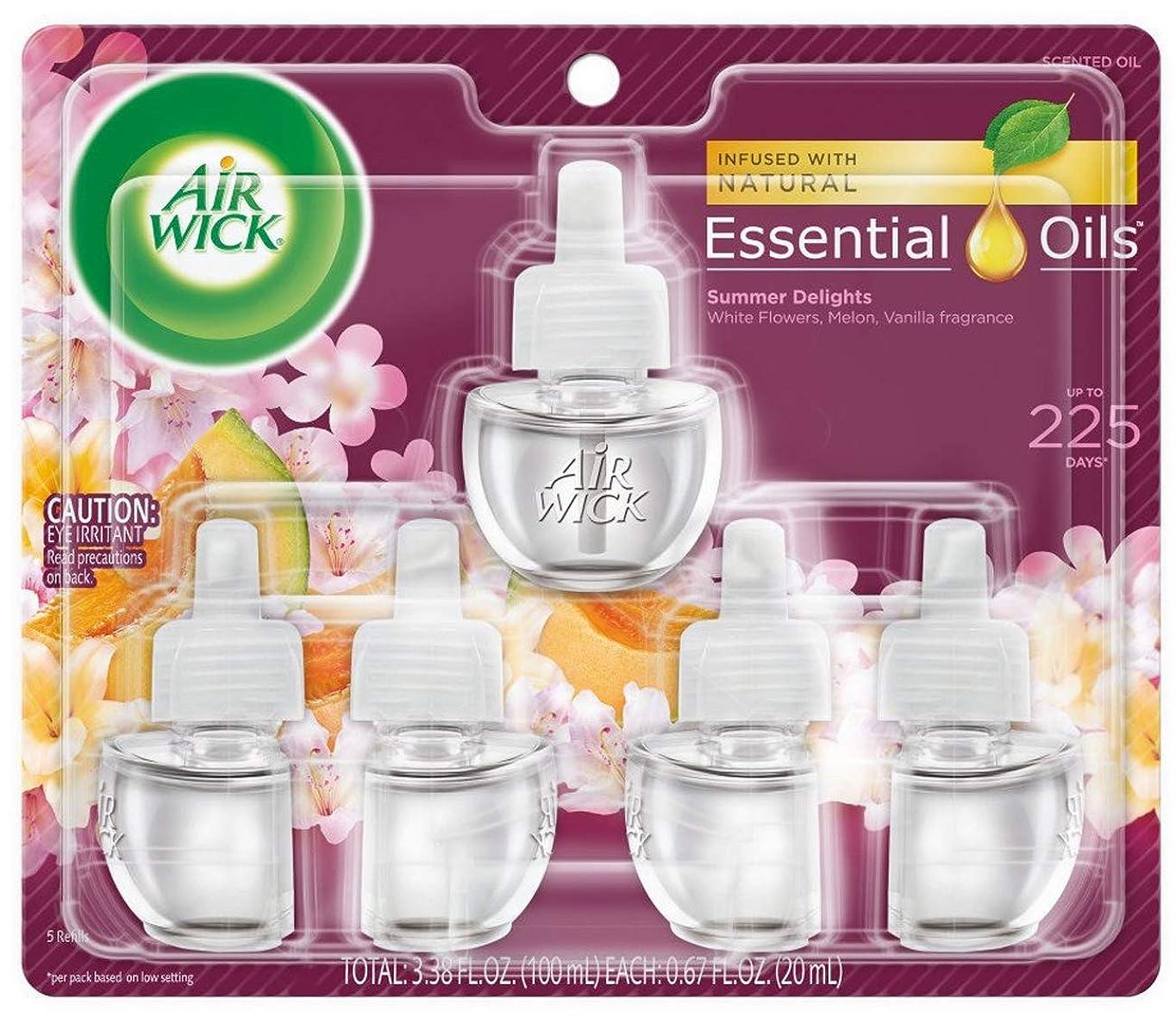 適合する調和教エアーウィック オイル プラグイン 詰替ボトル フレグランス 芳香剤 サマーデライト 20ml 5個セット Air Wick 海外直送