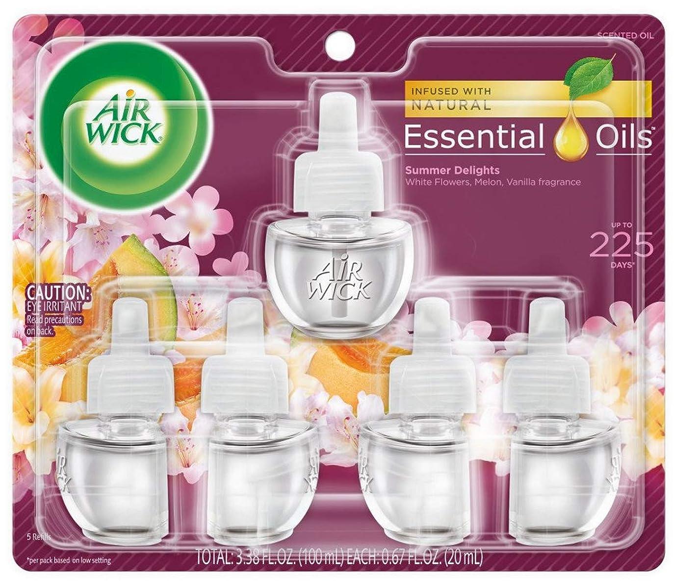 ディーラーグリース野ウサギエアーウィック オイル プラグイン 詰替ボトル フレグランス 芳香剤 サマーデライト 20ml 5個セット Air Wick 海外直送