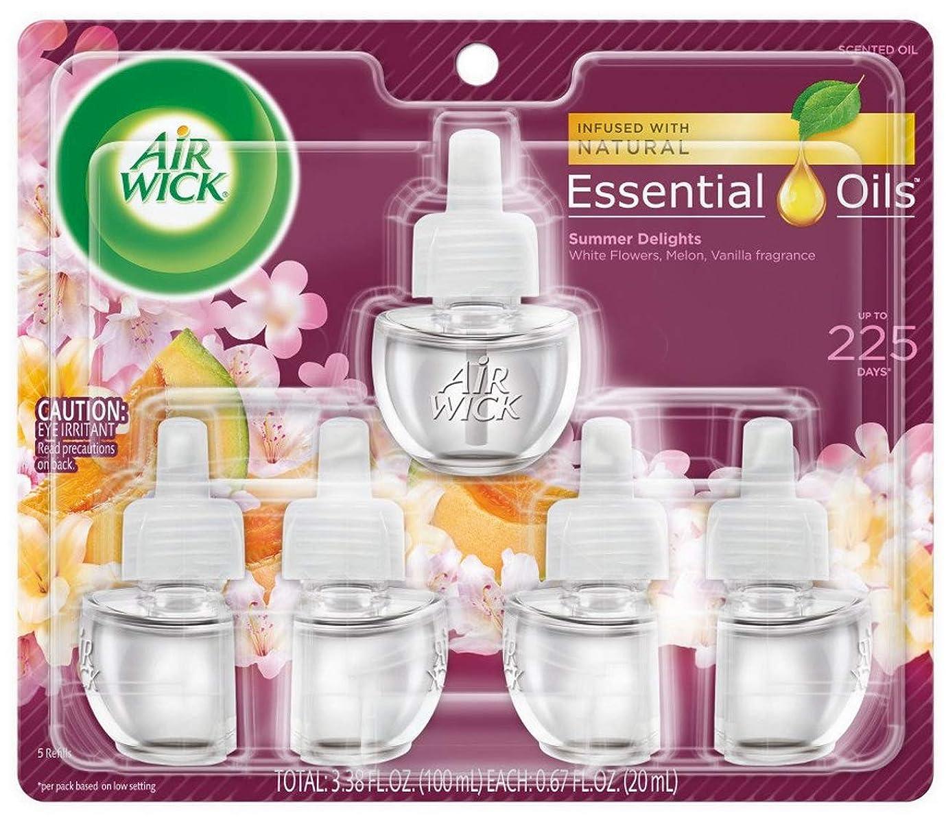 心から渇き流エアーウィック オイル プラグイン 詰替ボトル フレグランス 芳香剤 サマーデライト 20ml 5個セット Air Wick 海外直送