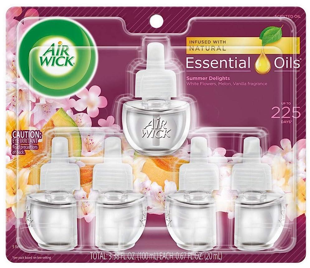 歯科の呼び出すエンゲージメントエアーウィック オイル プラグイン 詰替ボトル フレグランス 芳香剤 サマーデライト 20ml 5個セット Air Wick 海外直送