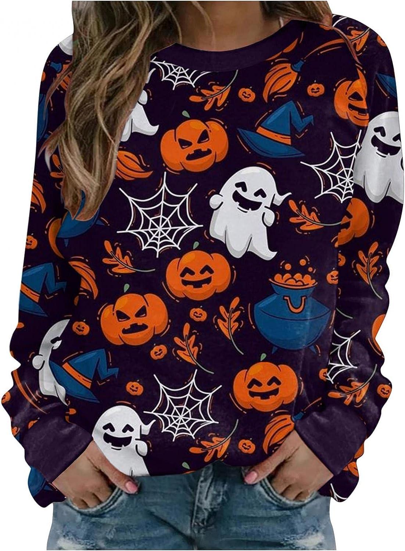 FABIURT Halloween Sweatshirts for Women Casual Long Sleeve Graphic Pumpkin Cat Festival Crewneck Pullover Tops Shirts