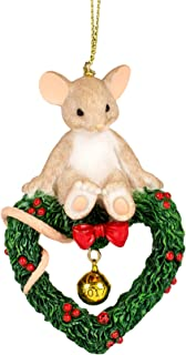 Roman Charming Tails 130448 Mouse on Wreath Ornament Dated 2017 Multicolored