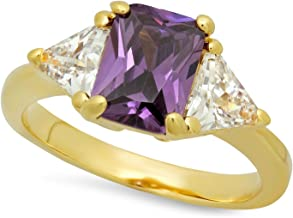 The Bling Factory Gold Plated Emerald-Cut Violet Purple CZ Three-Stone Ring, Size 10