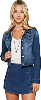 Women's Casual Basic Cropped Long Sleeve Button Down Denim Jacket in White, Black & Blue