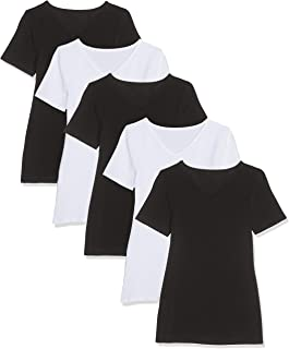 1st American Stretch T-Shirt Rundausschnitt F/ür Damen Kurzarm 3er oder 5er Pack Einfarbig