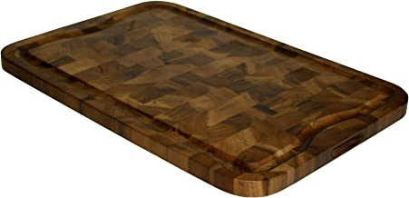 Mountain Woods Brown Organic End-Grain Acacia HardWooden Cutting Board for Kitchen w/Juice Groove | Chopping Board | Butch...