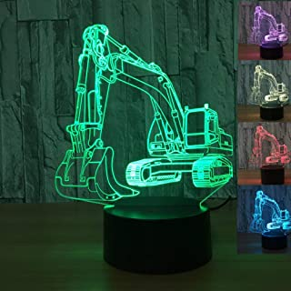 3D Excavator Tractor Car Night Light Table Desk Optical Illusion Lamps 7 Color Changing Lights LED Table Lamp Xmas Home Love Brithday Children Kids Decor Toy Christmas Gift