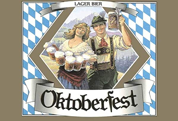Oktoberfest Couple In Traditional Costume With Beer Metal Plaque Tin Sign Poster Wall Art Cafe Club Pub Home Decoration